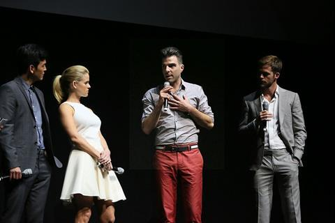 At the Paramount presentation: John Cho, Alice Eve, Zachary Quinto and Chris Pine